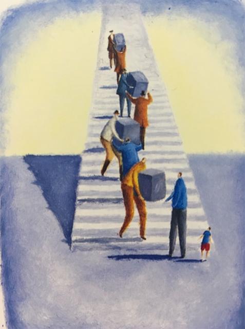 階段で物を運ぶ人々